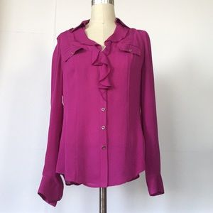 NWOT Silk Purple Blouse, Ruffle Front
